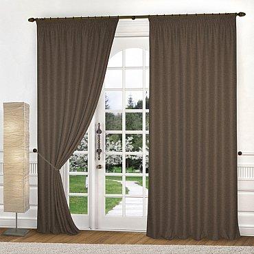 Комплект штор лен-рогожка K334-1, шоколадный, 200*250 см