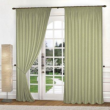 Комплект штор лен-рогожка K334-8, оливковый, 250*260 см