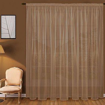 Тюль вуаль T101-10, коричневый, 400*290 см