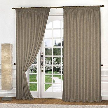 Комплект портьер блэкаут-рогожка B504-2, серо-коричневый, 250*270 см