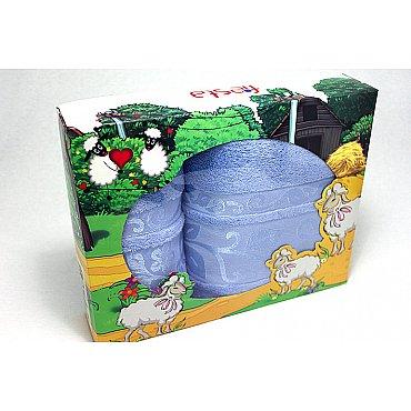 """Набор полотенец """"Класс"""" в новогодней упаковке """"Овечки"""",голубой, большой"""