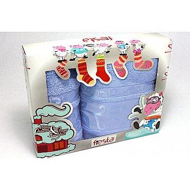 """Набор полотенец """"Класс"""" в новогодней упаковке,голубой, большой"""
