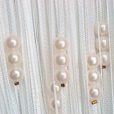 Кисея нитяная штора на кулиске с жемчугом - Белые на белом