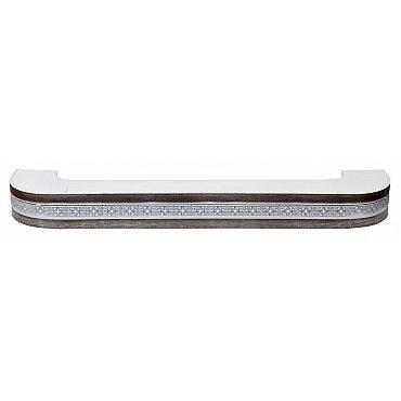 """Карниз потолочный пластиковый поворотный """"Акант"""", 3 ряда, серебро антик, 180 см"""