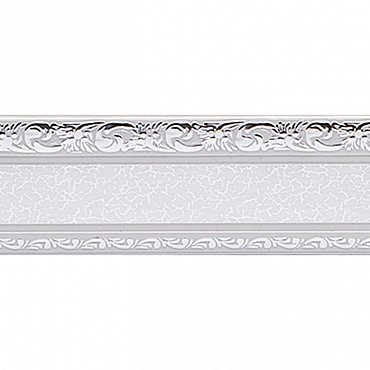 """Карниз потолочный пластиковый без поворота """"Гранд"""", 2 ряда, серебро, 360 см"""