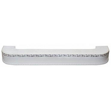 """Карниз потолочный пластиковый поворотный """"Гранд"""", 2 ряда, белый хром, 320 см"""