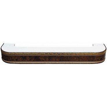 """Карниз потолочный пластиковый поворотный """"Гранд"""", 2 ряда, карельская береза, 400 см"""