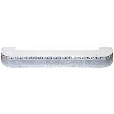 """Карниз потолочный пластиковый поворотный """"Гранд"""", 3 ряда, мрамор хром, 360 см"""
