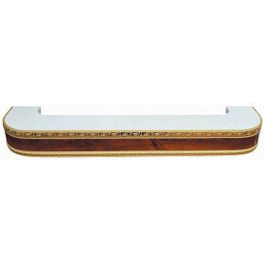 """Карниз потолочный пластиковый поворотный """"Гранд"""", 2 ряда, орех, 220 см"""