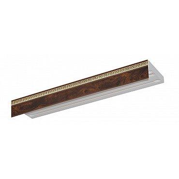 """Карниз потолочный пластиковый без поворота """"Греция"""", 3 ряда, коричневый, 260 см"""