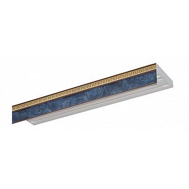 """Карниз потолочный пластиковый без поворота """"Греция"""", 3 ряда, синий"""