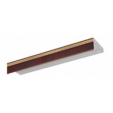 """Карниз потолочный пластиковый без поворота """"Греция"""", 3 ряда, вишня, 200 см"""