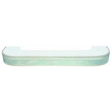 """Карниз потолочный пластиковый поворотный """"Греция"""", 3 ряда, мрамор хром, 300 см"""