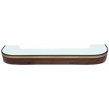 """Карниз потолочный пластиковый поворотный """"Греция"""", 2 ряда, орех темный, 260 см"""