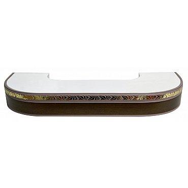 """Карниз потолочный пластиковый поворотный """"Валенсия"""", 2 ряда, венге"""