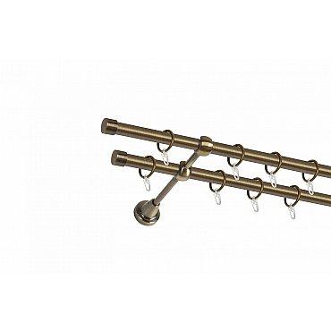 Карниз металлический 2-рядный золото антик, гладкая труба, 300 см, ø16 мм