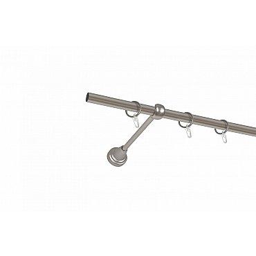 Карниз металлический 1-рядный хром матовый, гладкая труба, 240 см, ø16 мм