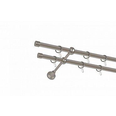 Карниз металлический 2-рядный хром матовый, гладкая труба, 300 см, ø16 мм