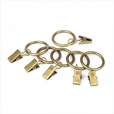 Комплект колец для металлического карниза, золото антик, диаметр 16(19) мм, № 4