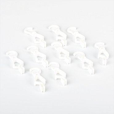 Комплект крючков с зажимом для металлического карниза под дерево, белый