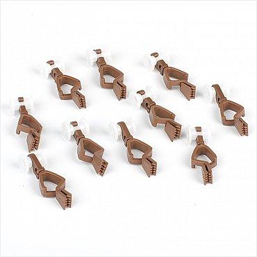 Комплект пластмассовых бегунков с зажимом для шины, коричневый