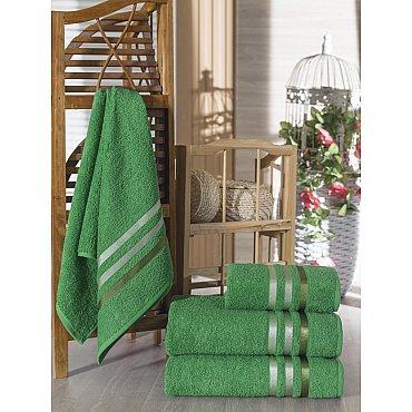 Комплект из 4-х махровых полотенец Vevien Ekonomik (50*90; 70*140), темно-зеленый