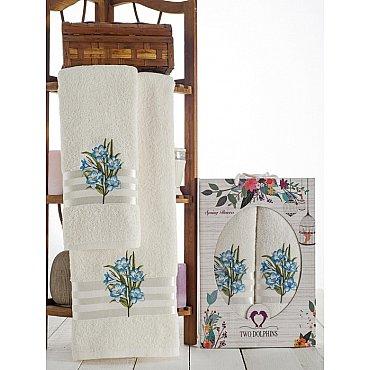 Комплект махровых полотенец Spring Flowers в коробке (50*90; 70*140), бирюзовый