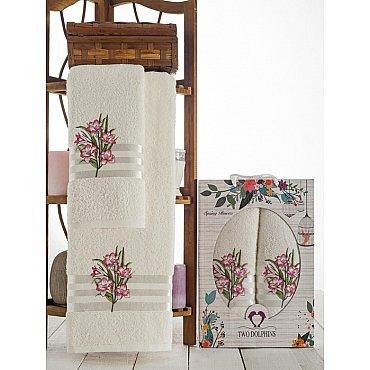 Комплект махровых полотенец Spring Flowers в коробке (50*90; 70*140), брусничный