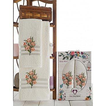 Комплект махровых полотенец Spring Flowers в коробке (50*90; 70*140), персиковый