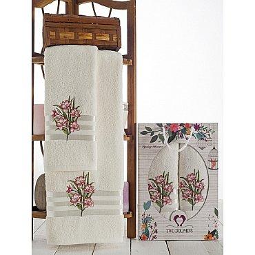 Комплект махровых полотенец Spring Flowers в коробке (50*90; 70*140), розовый