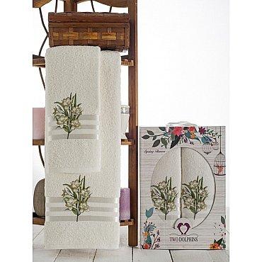 Комплект махровых полотенец Spring Flowers в коробке (50*90; 70*140), зеленый