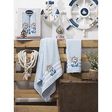 Комплект махровых полотенец Vevien Gemi в коробке (50*90; 70*140), голубой
