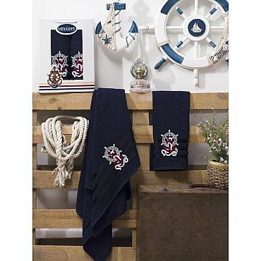 Комплект махровых полотенец Vevien Gemi в коробке (50*90; 70*140), синий