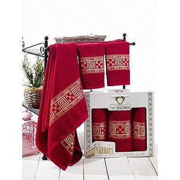 Комплект из 3-х полотенец Krinkil Greek в коробке (50*90; 70*140), бордовый