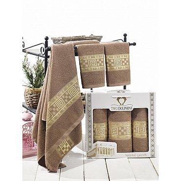 Комплект из 3-х полотенец Krinkil Greek в коробке (50*90; 70*140), шоколадный