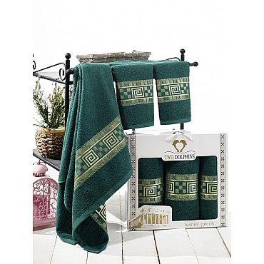 Комплект из 3-х полотенец Krinkil Greek в коробке (50*90; 70*140), зеленый