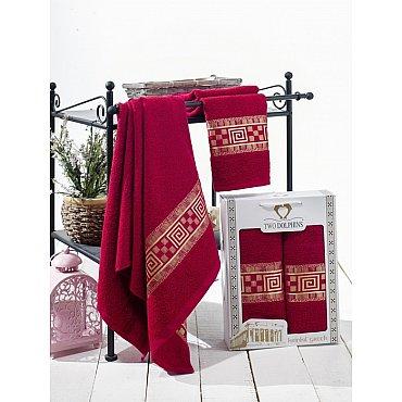 Комплект из 2-х полотенец Krinkil Greek в коробке (50*90; 70*140), бордовый