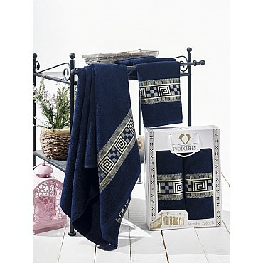 Комплект из 2-х полотенец Krinkil Greek в коробке (50*90; 70*140), синий
