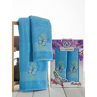 Комплект из 2-х полотенец Butterfly в коробке (50*90; 70*140), бирюзовый