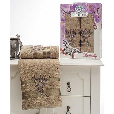 Комплект из 2-х полотенец Butterfly в коробке (50*90; 70*140), молочный