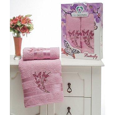 Комплект из 2-х полотенец Butterfly в коробке (50*90; 70*140), розовый
