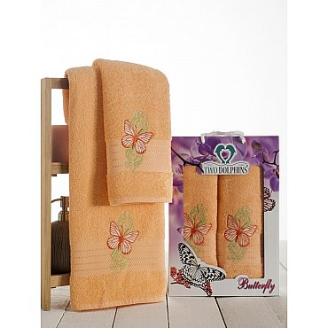 Комплект из 2-х полотенец Butterfly в коробке (50*90; 70*140), персиковый