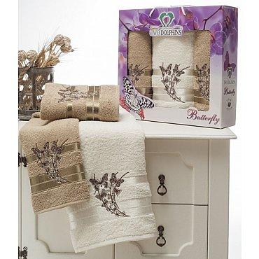 Комплект из 3-х полотенец Butterfly в коробке (50*90; 70*140), молочный