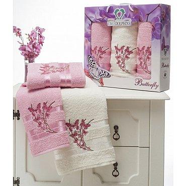 Комплект из 3-х полотенец Butterfly в коробке (50*90; 70*140), розовый