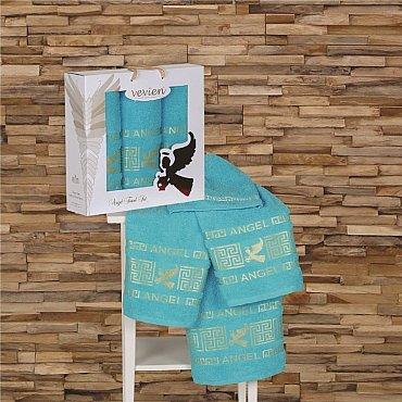 Комплект из 3-х полотенец Vevien Angel в коробке (50*90; 70*140), бирюзовый