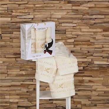 Комплект из 3-х полотенец Vevien Angel в коробке (50*90; 70*140), кремовый