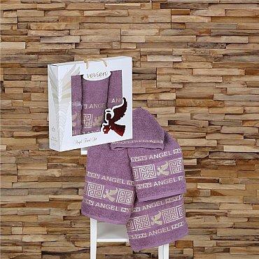 Комплект из 3-х полотенец Vevien Angel в коробке (50*90; 70*140), лиловый