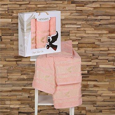 Комплект из 3-х полотенец Vevien Angel в коробке (50*90; 70*140), персиковый