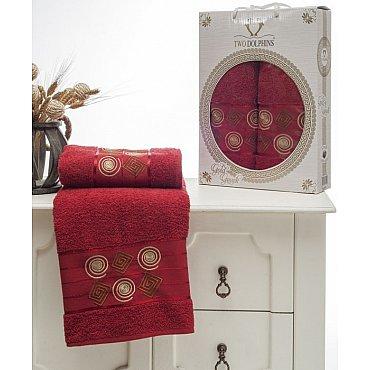 Комплект из 2-х полотенец Gold Greek в коробке (50*90; 70*140), бордовый