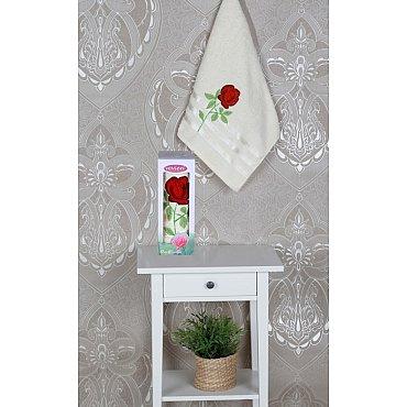 Полотенце Vevien Роза в коробке, кремовый, 50*90 см